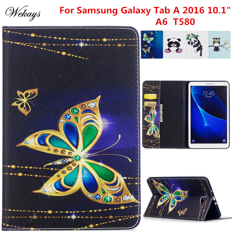 Wekays sFor Samsung Tab A6 10.1 Cartoon Leather Case For Samsung Galaxy Tab A6 A 6 2016 10.1 T585 T580 T580N Tablet Cover Cases