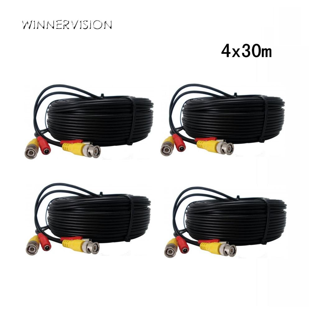 DHL Freeshiping 4PCS 30 Meters BNC CCTV Video Power Cable CCTV Dia 3.0mm Extension Video Power BNC+DC Cable 30m for CCTV System new waterproof ip camera 720p cctv security dome camera video capture surveillance hd onvif cctv infrared ir camera outdoor