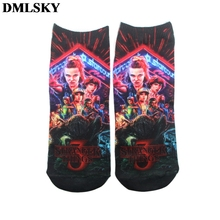 DMLSKY 1 Pair Fashion Creative Stranger Things Socks 3D Print Funny Comfortable Cotton Stocking M3717