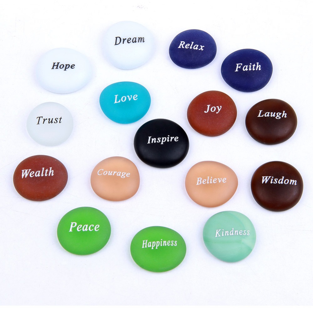 Frosted Glass Tumbled Stones Set Caved Inspire Words Reiki Healing Feng Shui Crafts Home Decoration 16pcs Mixed in Decorative Letters Numbers from Home Garden
