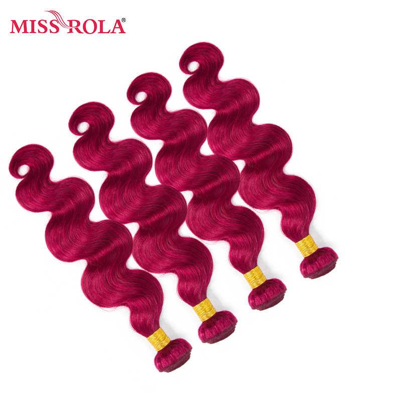 Miss Rola волосы предварительно окрашенные ed Омбре индийская волна тела 4 пучка # ошибка цвет 100% человеческие пряди для наращивания волос не Реми волосы Haare