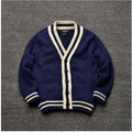 81942 Retail 2016 Autumn Baby Boy Sweater Solid Blue Casual Boy Cardigan V-Neck Patchwork Boy Clothes Fashion