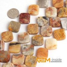 16 MM cuadrado giro loco ágata piedra natural perlas sueltas DIY para la joyería strand 15 pulgadas al por mayor!
