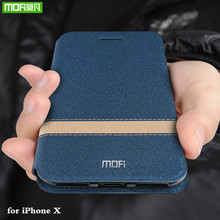 MOFi Flip Case iPhone X kapak Apple X için TPU konut iPhone X için Coque Folio PU deri silikon kitap kabuk