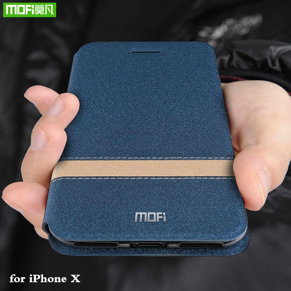 Mofi caso da aleta para iphone x capa para apple x tpu habitação para iphonex coque folio couro do plutônio silicone livro escudo