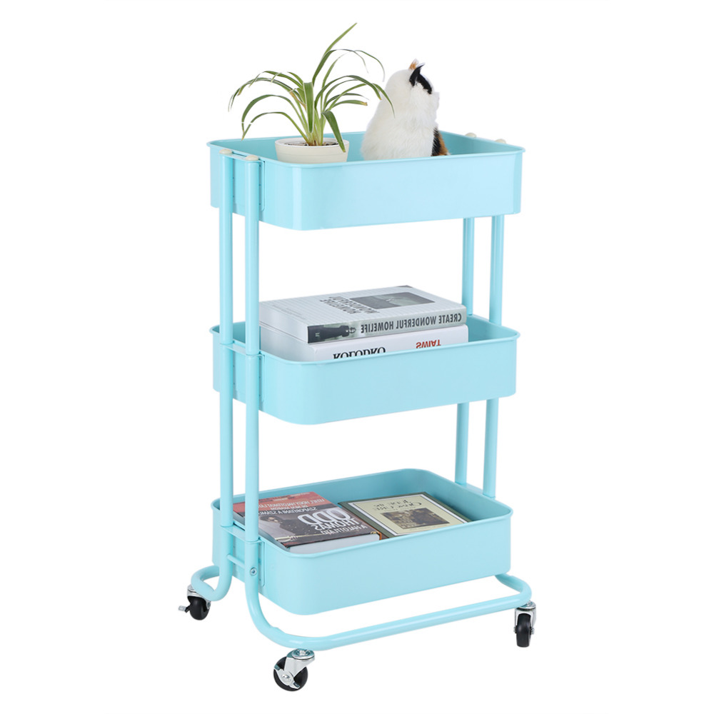3 Tiers Standing Save Space Storage Rack Shelf Holder Trolley Cart ...