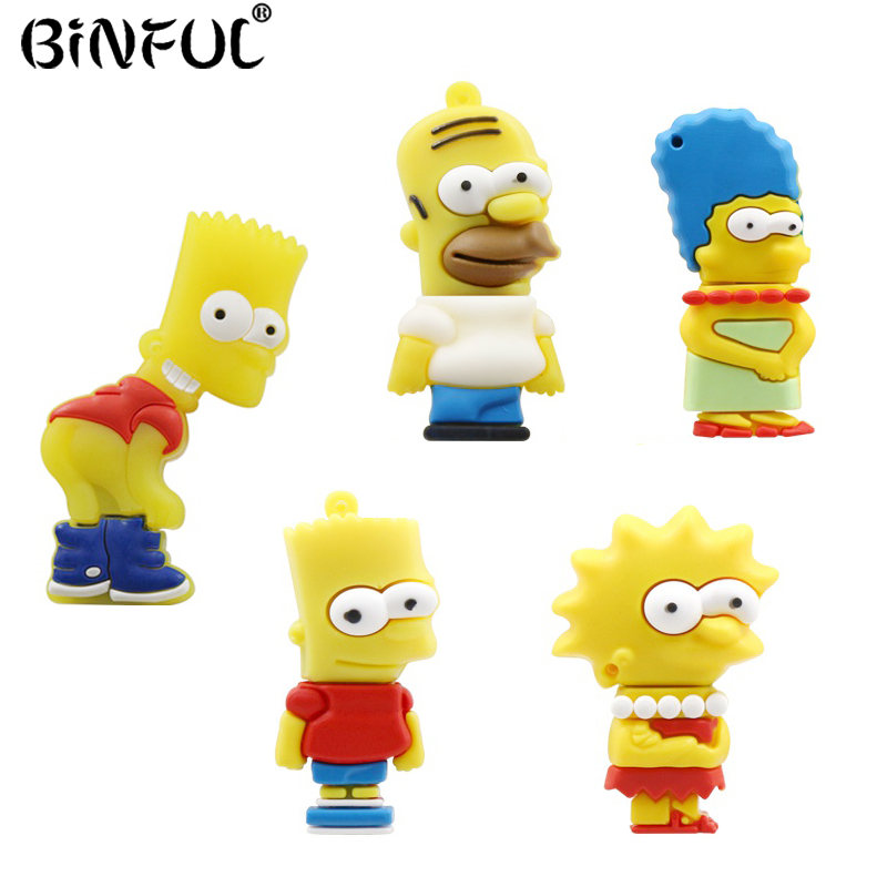 Pen Drive Simpson Family Bart Memoria USB Flash Drive 4gb 8gb 16gb 32gb 64gb Flash Memory Stick Pendrive Usb Key U Disk Gifts