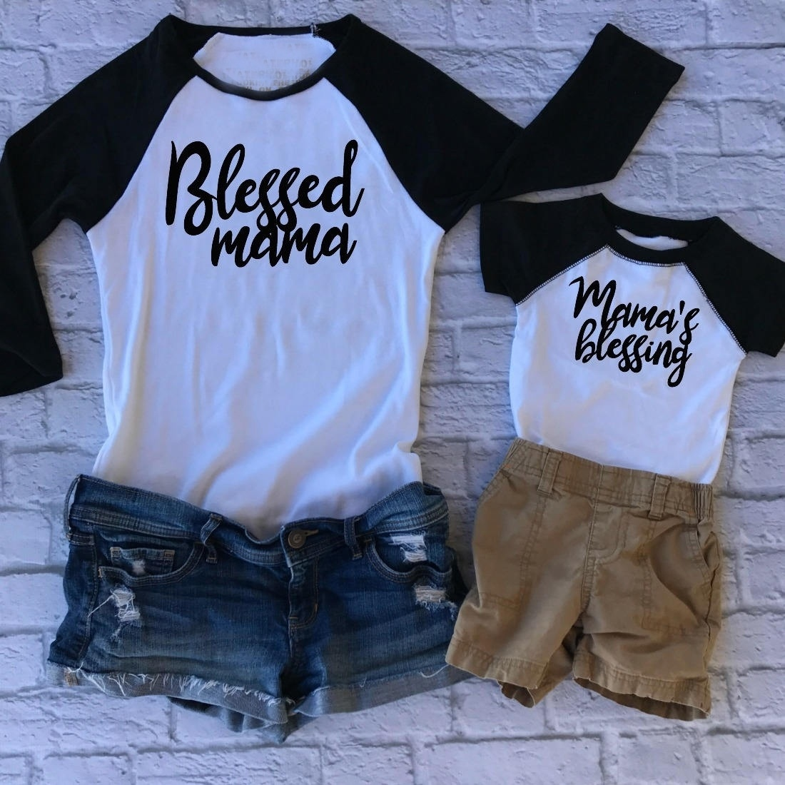 HAHAYULE-JBH 1PC Mother Blessed Mama Blessing Tee Summer time Fashion Household Matching Outfits Garments Set Mom T-shirt Child Lengthy Sleeve Matching Household Outfits, Low-cost Matching Household Outfits, HAHAYULE JBH...