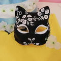 Half Face Hand-Painted Japanese Fox Mask Kitsune Cosplay Masquerade Black Flower Pattern for Party Halloween A