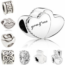 Btuamb Punk Double Love Heart Anchor Girl Rose Flower Alloy Charm Beads Fit Pandora Bracelets Making Jewelry Lover Gift DIY(China)