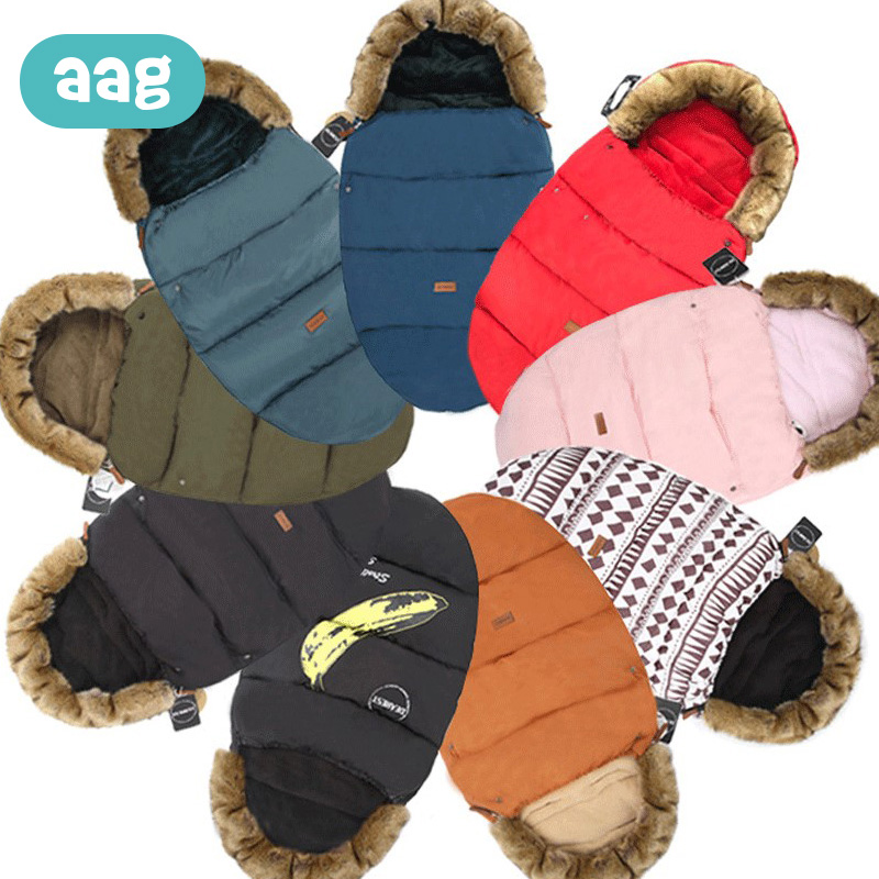 AAG Baby Sleeping Bag Swaddle Windproof Winter Warm Stroller Envelope For Discharge Bunting Footmuff Faux Fur Baby Sleepsack