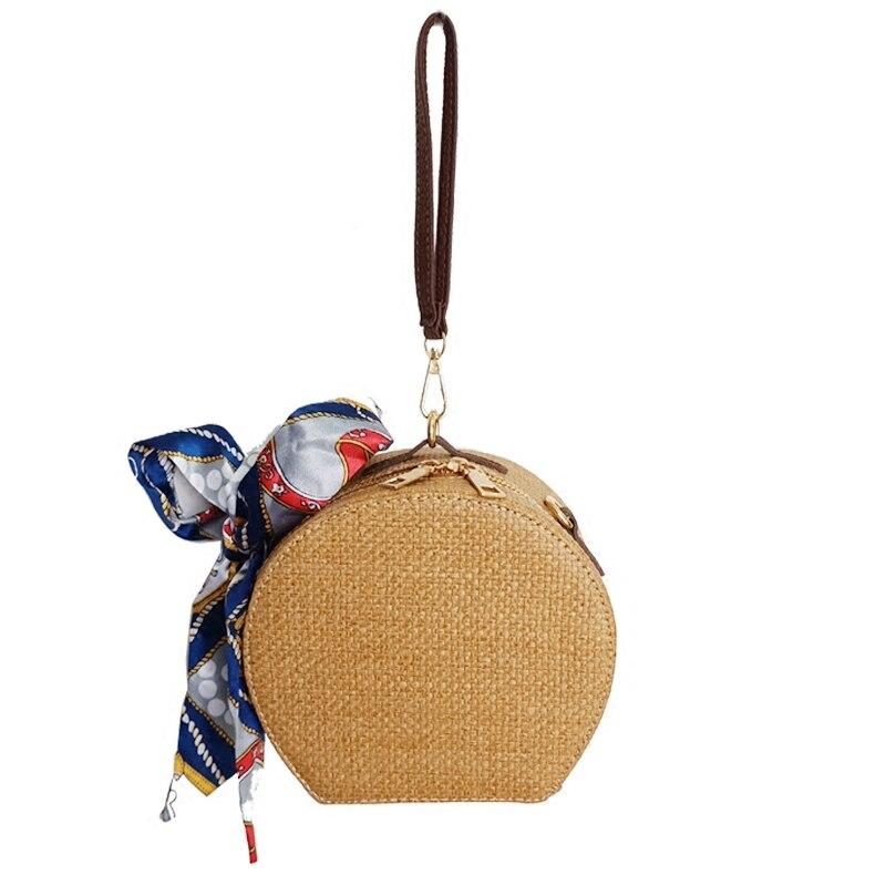 Summer New Scarves Wild Small Round Bales Straw Crossbody Small Bag Shoulder Bag Womens Street Fashion Bag