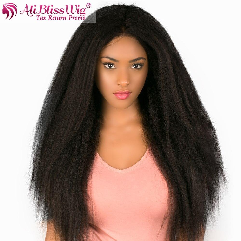 13X6 Lace Front Human Hair Wigs Kinky Straight Remy Hair Wigs For Black  Women Italian Yaki 952577ea7