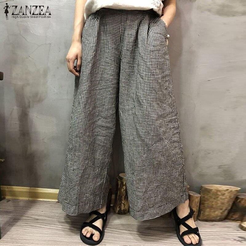 ZANZEA   Wide     Leg     Pants   2019 Fashion Women Casual Plaid Check Trousers Female Autumn Long Pantalon Baggy Streetwear Plus Size