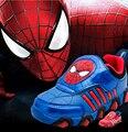 Crianças sapatos 2016 nova primavera outono homem aranha Flasher moda esportes tênis para crianças de esporte marca meninos sapatos leves Led