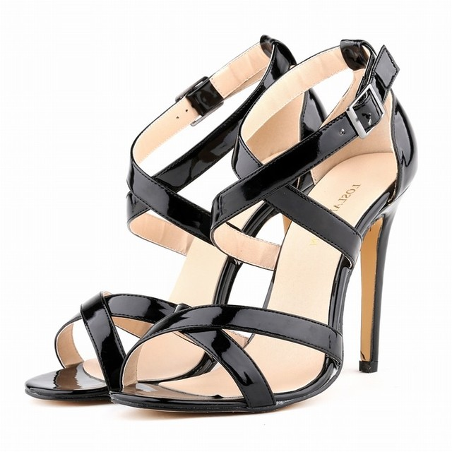 Большой Размеры Новые женские босоножки Лето 2017 г. женские пляжные сандалии обувь высокий тонкий каблук лакированная кожа фиолетовый красный белые туфли SMYBK-103