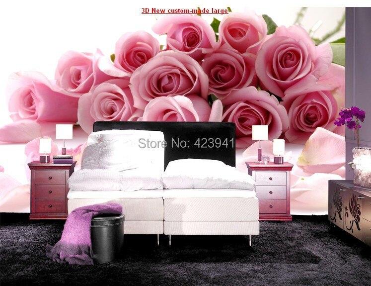 Hot Can personnalisé grand 3d mural papier peint chambre revêtement mural chambre TV toile de fond rose rouge romantique Roses fleurs amoureux