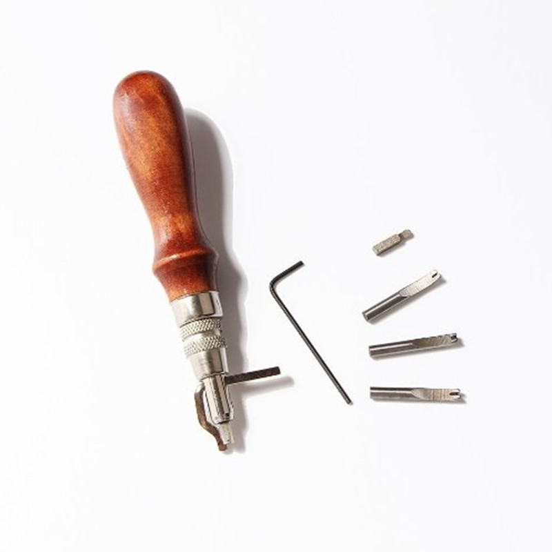 NEW 5 in1 DIY Leathercraft Adjustable Pro Stitching Groover Crease Leather Tools