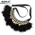 MANILAI Women Party Luxury Accessories Exaggerate Collars Feather Rhinestones Chokers Statement Crystal Necklaces Maxi Jewelry
