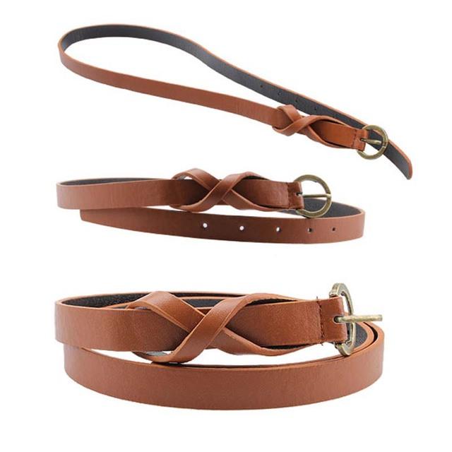 belt Skinny Metal Buckle Brand Female Faux  Leather Thin Belt Woman Waistband Girdle Cummerbunds Waist Belts for Women DM#6