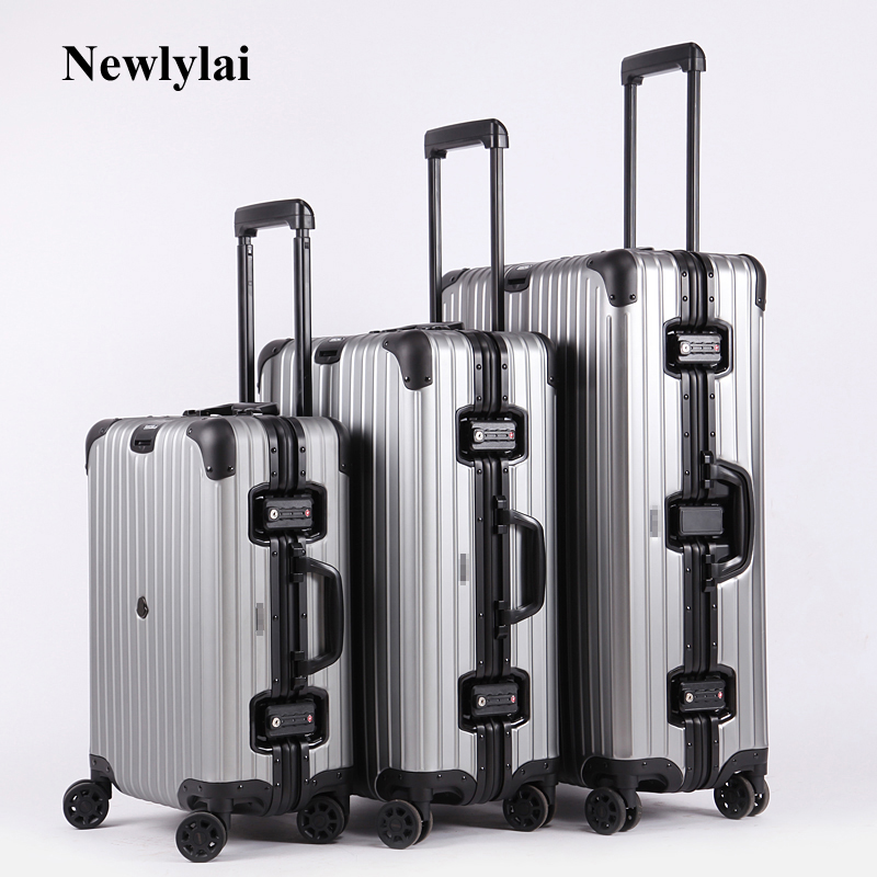 Free shipping 100% aluminium luggage magnesium alloy luggage Universal wheel lockbox metal box Men and women on board boxes