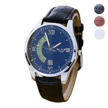 FHD Brand new Fashion style Watch men Casual Quartz Wrist Watch for mens faux Leather Wristwatch Gift wholesale Free shipping