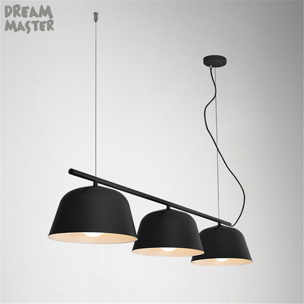 Colorful nordic table pendant lights Art exhibition clothing store cafe bar 3 lights industrial E27 kitchen