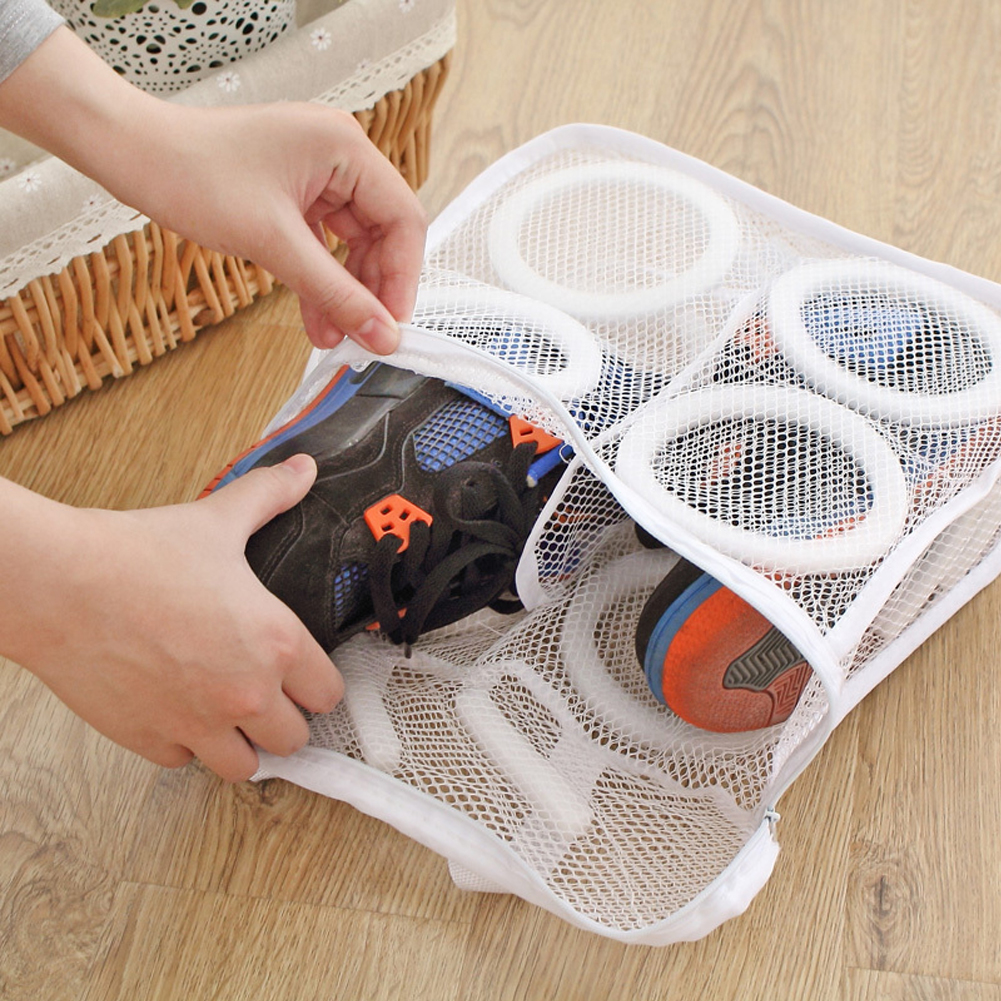 150ml 3D Storage Organizer Bag Mesh Laundry Shoes Bags Dry Shoe Organizer Portable Washing bags home slippers 28 x 26 x 12cm