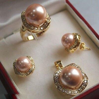 Rose clair mer du sud coquille perle boucles d'oreilles bague collier pendentif ensemble> AAA GP plaqué or mariée large montre ailes reine JEWE