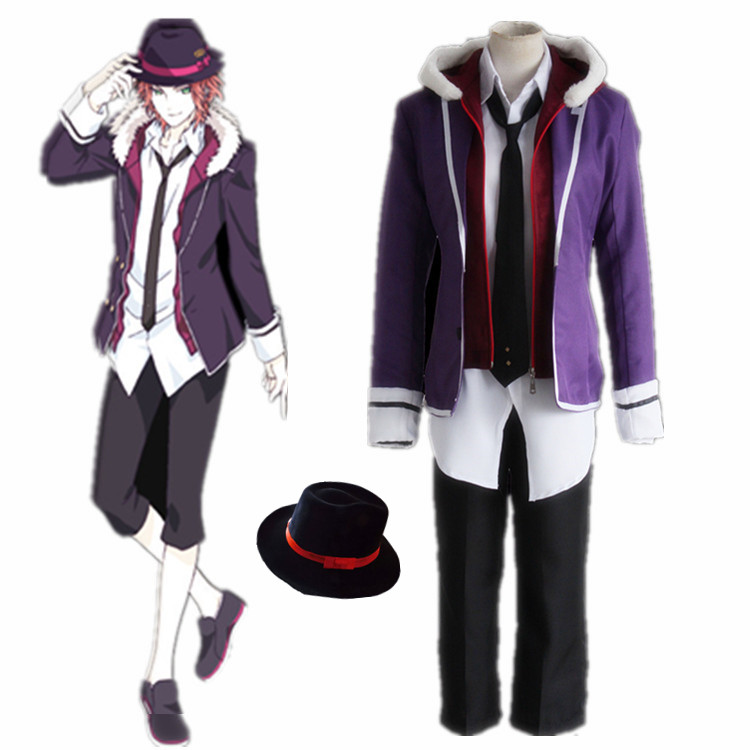 Anime  Diabolik Lovers Sakamaki Raito Cosplay Costume Full Set School Uniform ( Jacket + Hoodies  + Shirt + Pants + Tie + Hat )