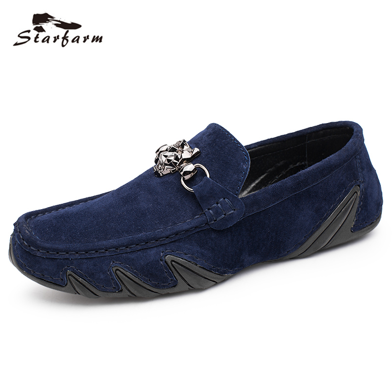 STARFARM Handmade Genuine Leather Loafers Men Suede Shoes Moccasins Shoes Chic Casual comfortable Shoes back to School loafers cyabmoz 2017 flats new arrival brand casual shoes men genuine leather loafers shoes comfortable handmade moccasins shoes oxfords