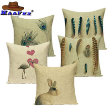 Feather peacock pillow cover decorative pillows 2019New cushion flamingo birds covers throw