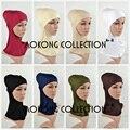 Полные внутренние мусульманской хиджаба крышкой хлопок вискоза равнины Soild хиджаб Underscarf исламской глава носить Hat женщины капот трубы обертывания