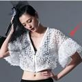 2017 verano nuevo estilo de personalidad de la moda con cuello en v chaqueta de manga flare estereoscópica azwt76 femenino