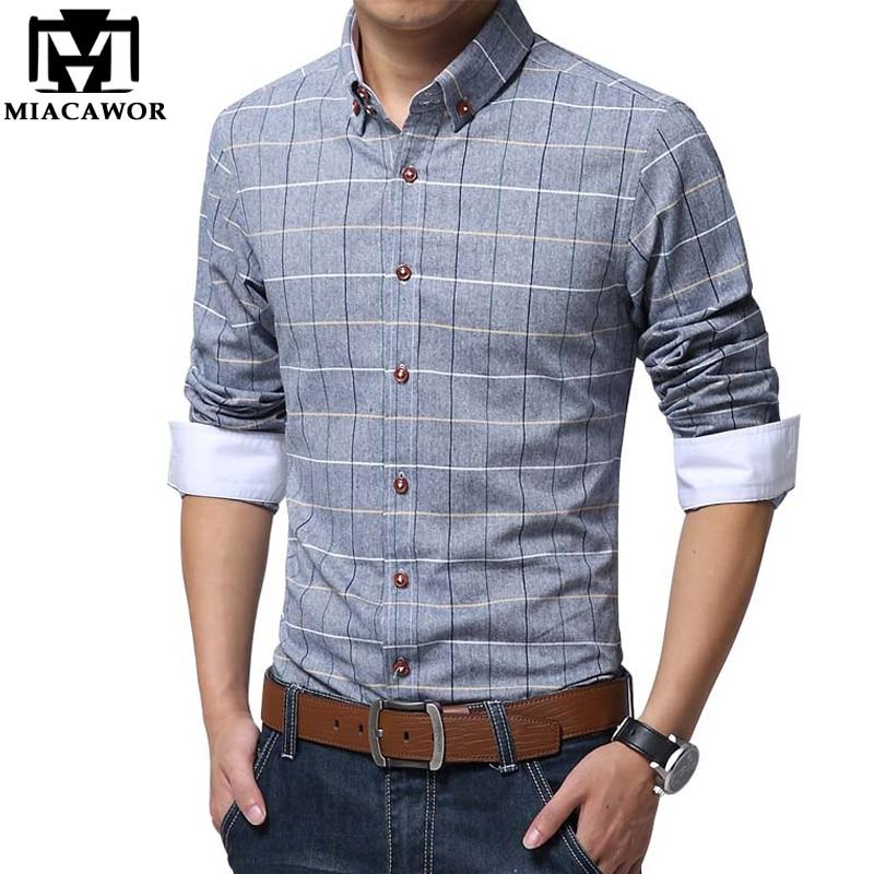 MIACAWOR Plaid Shirts Men Spring Long Sleeve Camisa Masculina Casual Shirt Slim Fit Men Dress Shirt Camisa Hombre Plus Size C127