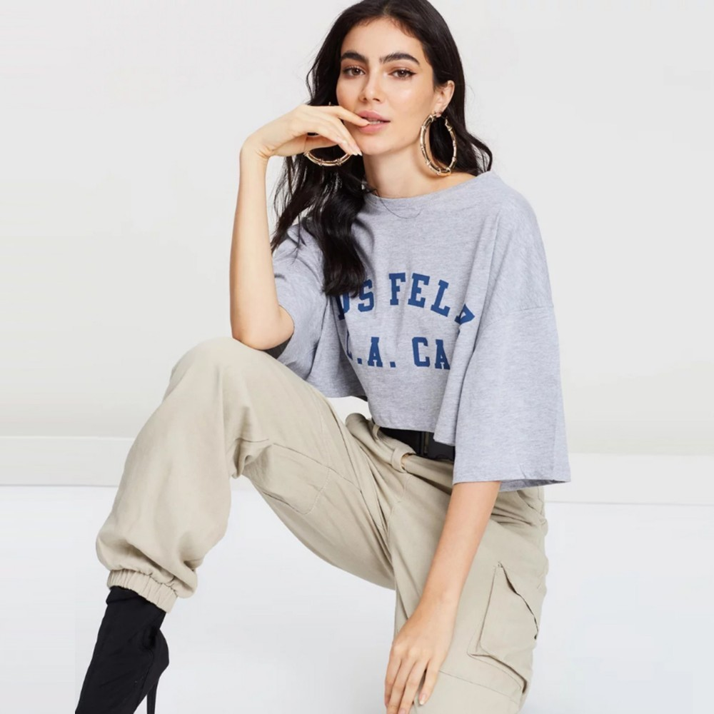 HDY Haoduoyi Femme Summer Stylish Casual Tops Loose Letters Printed Round Collar Short Sleeves Gray  Befree Comfortable T-Shirts