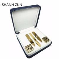 SHANH ZUN Trendy Gift Set for Men's Dress Shirt (Stainless Steel Collar Stays+Tie Clip+Cufflinks)