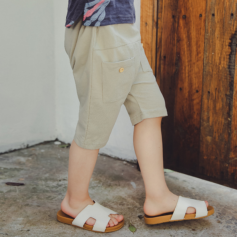 Boys Casual Capris Pants Children Clothing Summer New Koream Kids Trousers Boys Cotton Solid Knee Length Pants Sport Pants 2-7Y