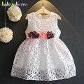 0-7años/Verano Niñas Princesa Vestidos Niños Ropa de Bebé de La Flor Hueco Tutu Wedding Party Dress Niños Ropa BC1353
