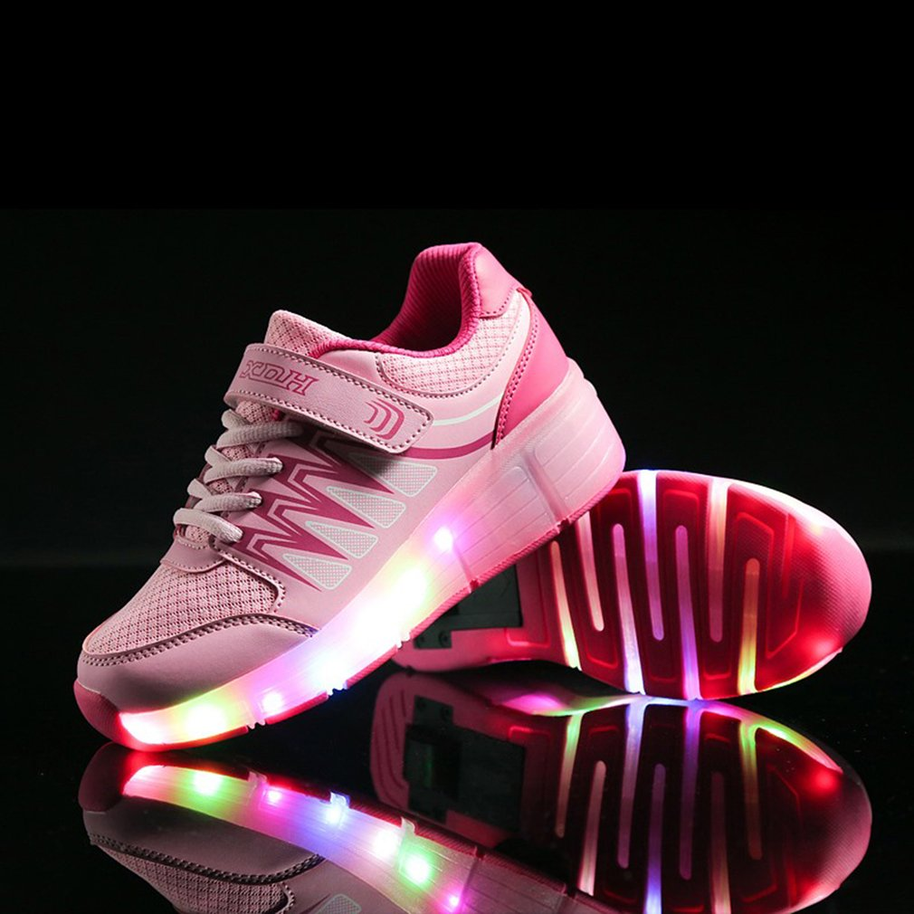 New 2 Color Roller Shoes Luminous Glowing Sneakers With Colorful Lights Children Kids Single Wheel LED Shoes For Boys And Girls kids shoes boys led lights sneakers with wheels single wheel glowing children shoes