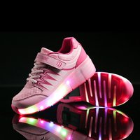 New 2 Color Roller Shoes Luminous Glowing Sneakers With Colorful Lights Children Kids Single Wheel LED