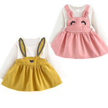 Kids Dress 2019 New Autumn Style Baby Girls Long-Sleeve Rabbits Ears Pattern Clothing Dress Design Children Princess Dress