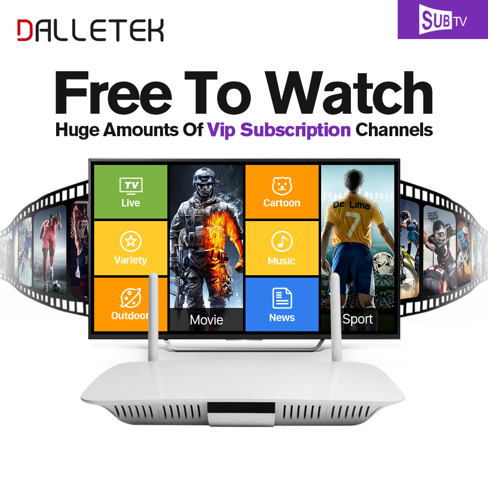 Dalletektv Smart IPTV Android tv Set Top Box IPTV Arabic French 3500+Live IPTV Europe Subscription 1 year Italy Media Player arabic iptv europe subscription 1 year qhdtv account 4k hd live sport channels iptv box android 6 0 tv box 2g 16g media player