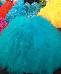 Лидер продаж синий Бальные платья 2019 Милая спинки выпускные рюшами Цветочный бальное платье индивидуальный заказ бисером кристалл