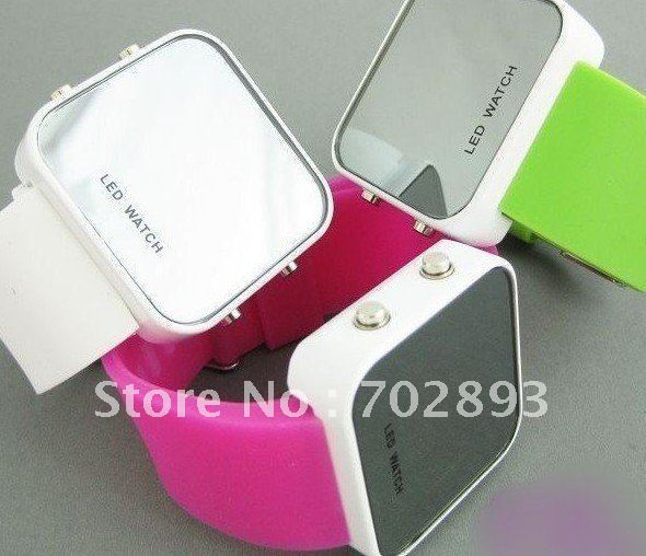 new Fashion and high quality silicone mirror watch,jelly LED watch 35pcs/lot