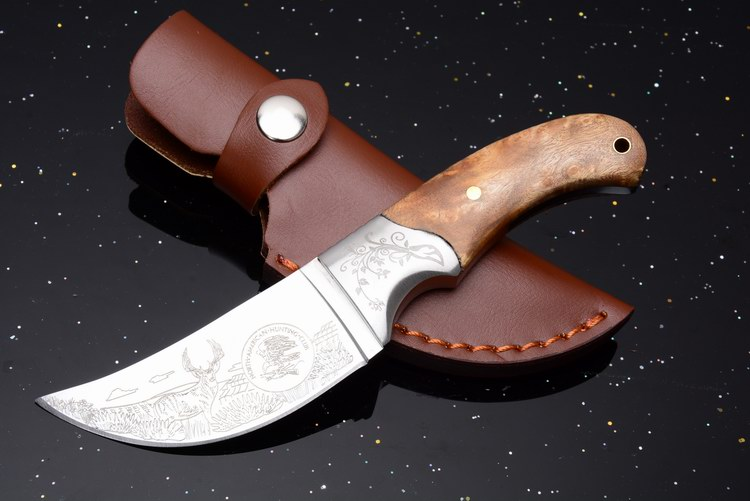 VOLTRON Rhino Wood Handle Fixed Blade Knife Hunting Survival Rescue Camping knives With Leather sheath Dropshipping