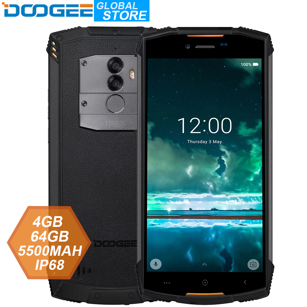 Ip68 doogee s55 ao ar livre impermeável smartphone mtk6750t octa núcleo 4 gb ram 64 gb rom 5500 mah 5.5 polegada android 8.0 sim duplo 13.0mp