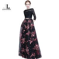 LOVONEY Elegant Lace Evening Dress Long Flower Print Occasion Party Dress Evening Gown Formal Dresses Robe
