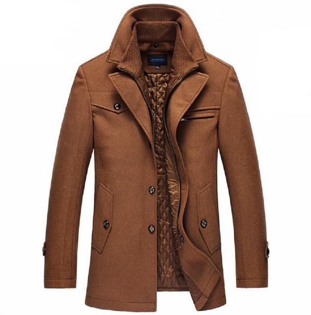 Nova marca de Inverno Casaco de Lã Slim Fit Casacos Casacos Moda Homem Jaqueta Casual Casaco Casaco de Ervilha Quente Plus Size M-XXXXL