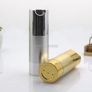 Image 2 - 500 pcs Luxo Ouro Prata Vazio Sem Ar garrafas de Bomba Mini Portátil Vacuum Tratamento Loção Cosmética garrafa Viagem F20171524